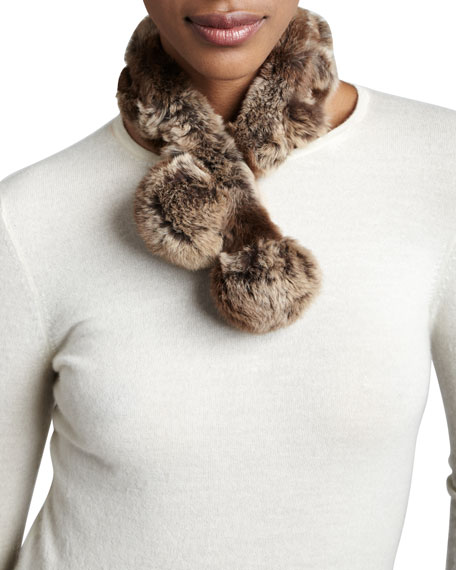 Rabbit Fur Neck Warmer, Natural Brown