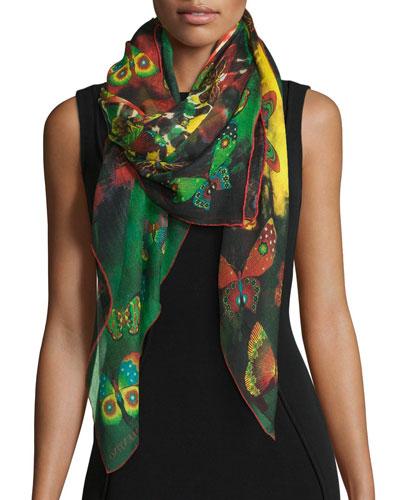 Tie-Dye Butterfly Shawl, Multicolor