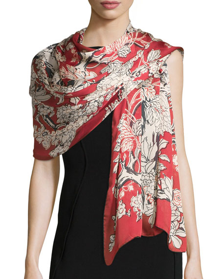 Enchanted Tree Silk Stole, Melograno (Red)