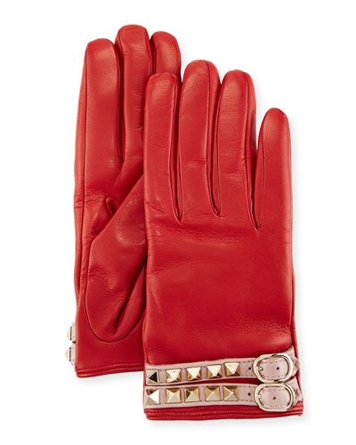 Leather Rockstud Gloves, Red