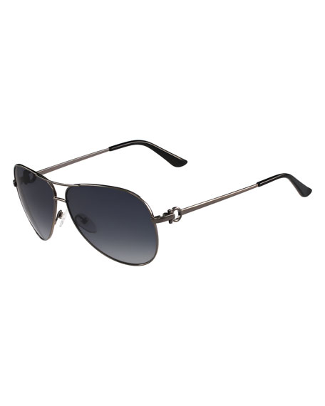 Gradient Aviator Sunglasses, Gunmetal