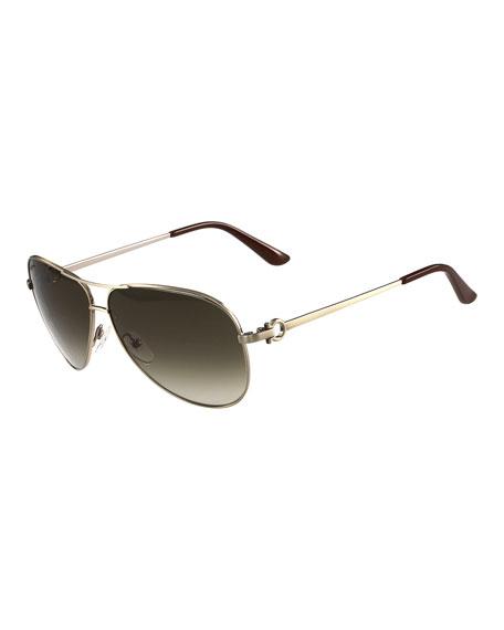 Salvatore FerragamoGradient Aviator Sunglasses, Brushed Gold