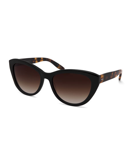 Barton Perreira Graziana Cat-Eye Acetate Sunglasses, Black/Tortoise