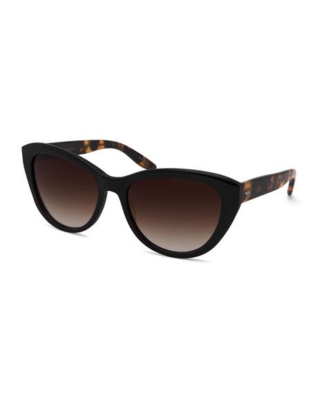 Barton Perreira Graziana Cat-Eye Acetate Sunglasses, Black/Tortoise