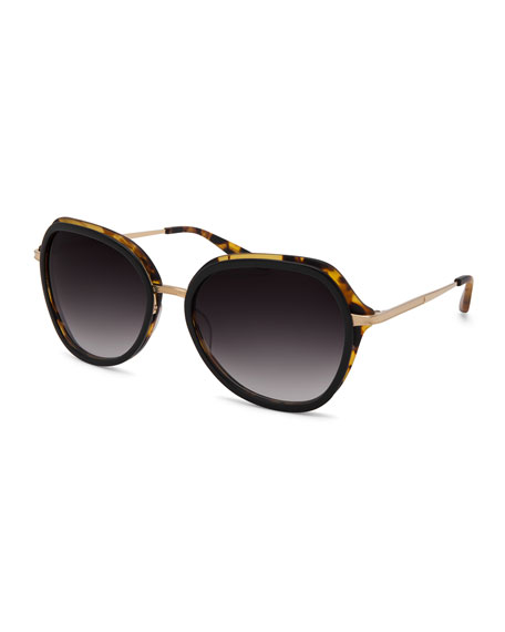 Barton Perreira Leilani Round Sunglasses, Tortoise/Gold