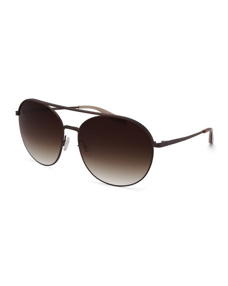 Barton Perreira Luna Round Sunglasses w/Brow Bar, Java