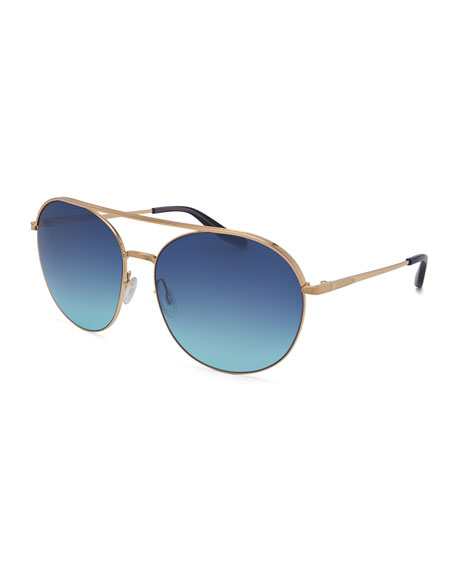 Luna Round Sunglasses w/Brow Bar, Gold/Blue