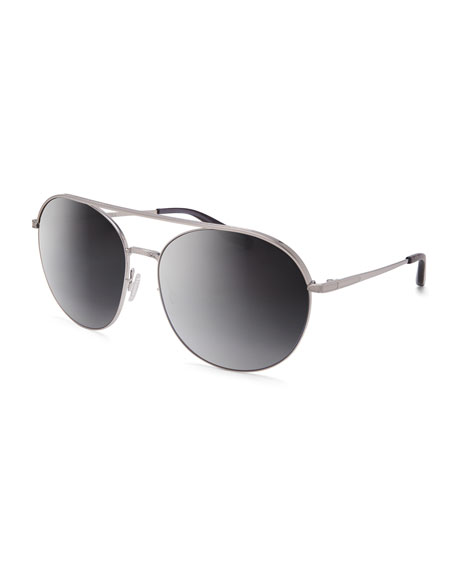 Barton Perreira Luna Round Mirrored Sunglasses w/Brow Bar,