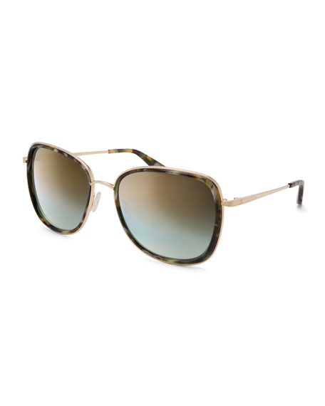 Barton Perreira Tiegs Mirrored Square Sunglasses, Tortoise/Gold