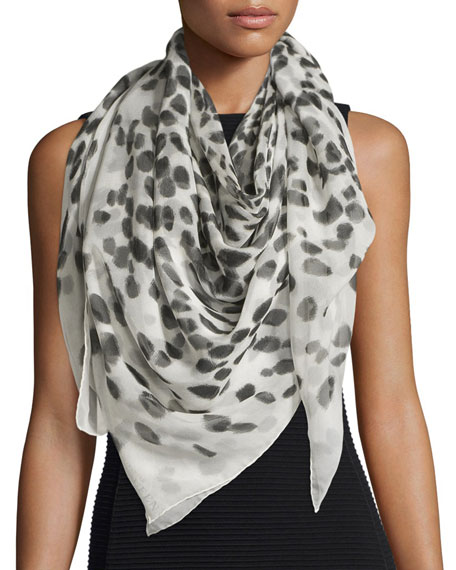 Alexander McQueen Leopard-Print Silk Skull Scarf, Ivory/Black