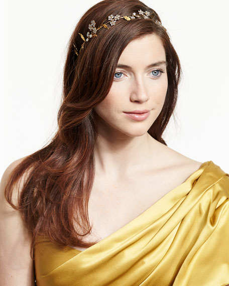 Crystal Flower Headband, Golden