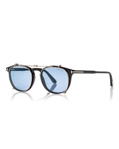 Round Optical Frames w/Clip-On Sunglasses Shades, Black/Blue
