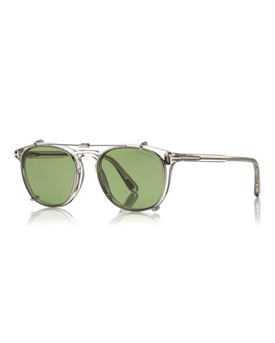 Round Optical Frames w/Clip-On Sunglasses Shades, Gray/Green