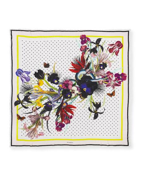 Square Floral Bouquet Star-Print Cashmere Scarf, Cream