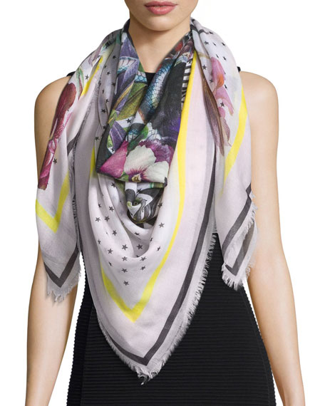 Givenchy Square Floral Bouquet Star-Print Cashmere Scarf, Cream