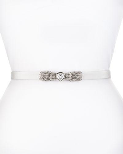 Silk Radzimir Crystal-Buckle Belt, Light Oyster