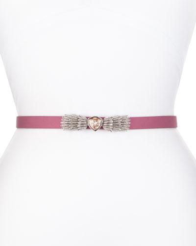 Silk Radzimir Crystal-Buckle Belt, Dusty Rose