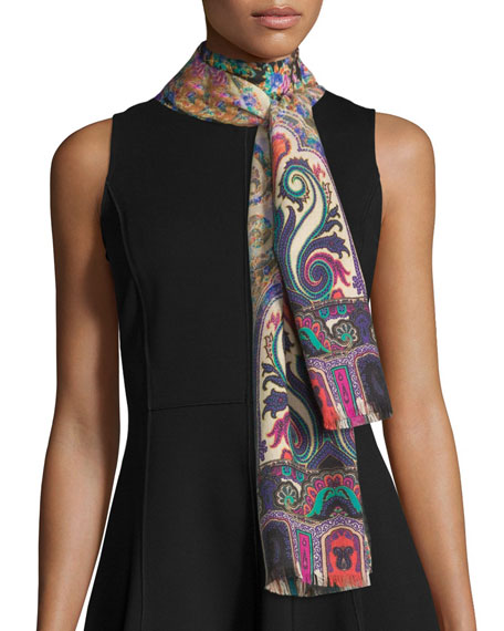 Etro Multipattern Cashmere-Blend Scarf, Multicolor