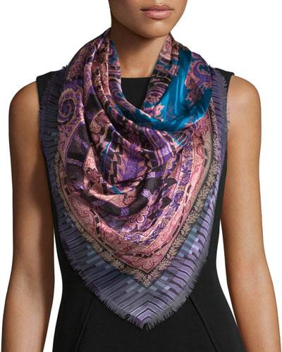 Silk Paisley Square Scarf, Blue/Purple