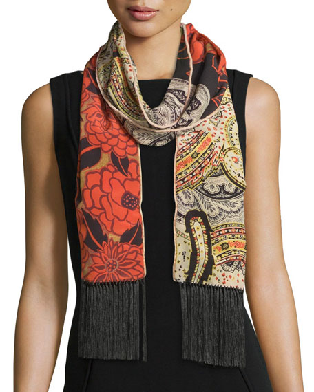 Etro Silk Floral & Paisley Fringe Scarf, Coral/Ivory