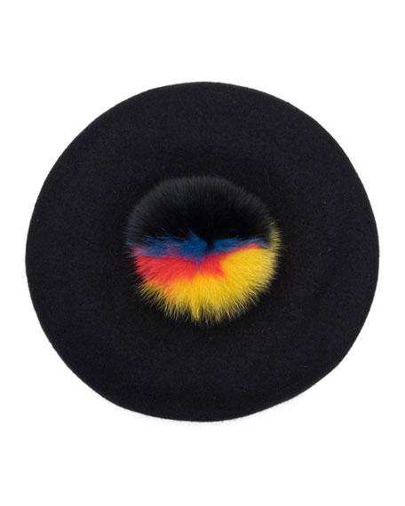Hadley Felted Beret w/ Fur Pompom, Black