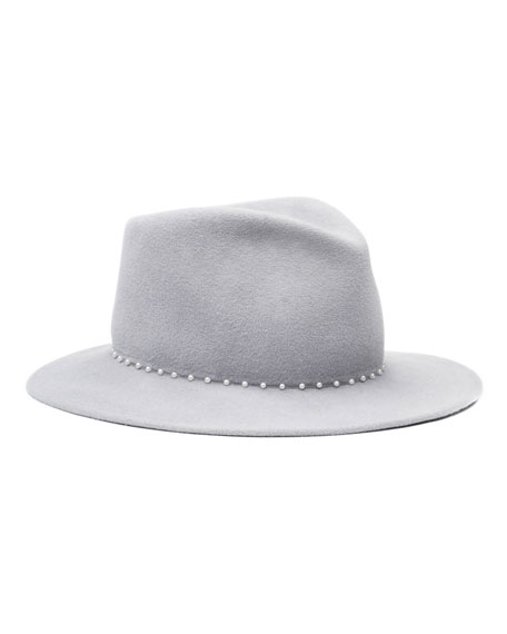 Mason Wide-Brim Hand-Beaded Fedora Hat, Light Gray