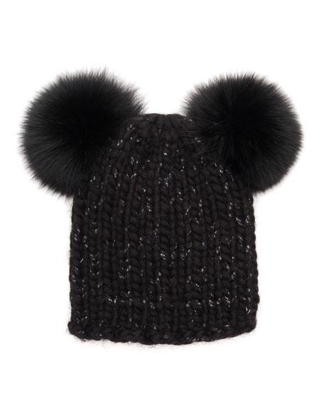 Mimi Knit Beanie Hat w/Fur Pom-Poms, Black