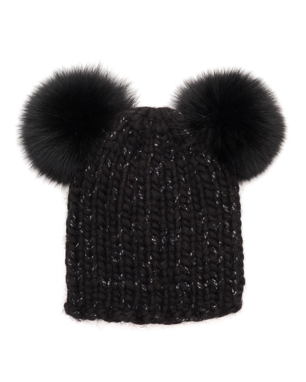 41dd3da81b3 Eugenia Kim Mimi Knit Beanie Hat w Fur Pom-Poms
