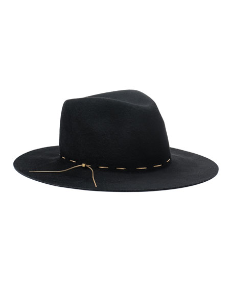 Georgina Contrast-Trim Hat, Black