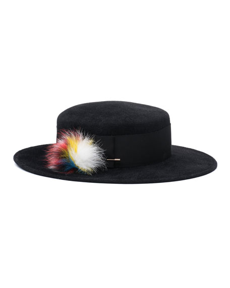 Brigitte Boater Hat w/Fur Pompom, Black