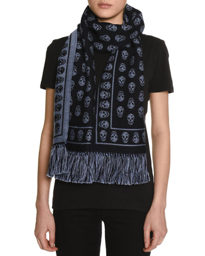 Skull-Print Cold Weather Scarf, Navy/Sky Blue