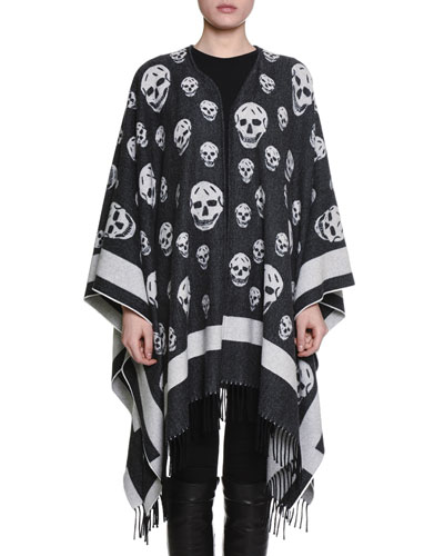 Big Skull Wool-Blend Cape, Black/Ivory