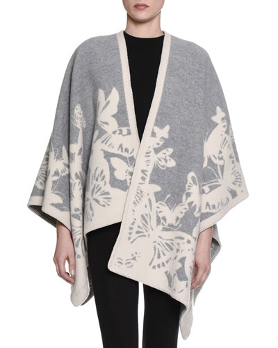 Wool-Blend Butterfly Cape, Pearl/Ivory