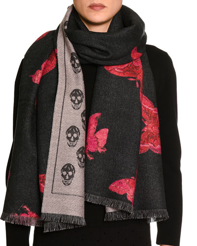 Double-Face Butterfly & Skull Wool Scarf, Black/Pink