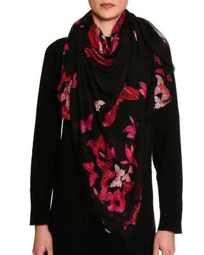 Square Voile Butterfly Scarf, Black/Pink