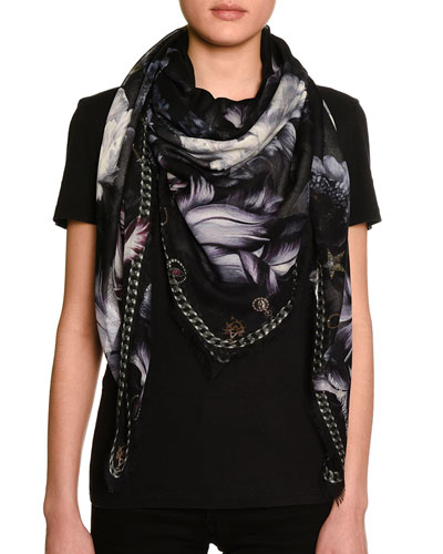 Midnight Blooms Voile Square Scarf, Black/Gray