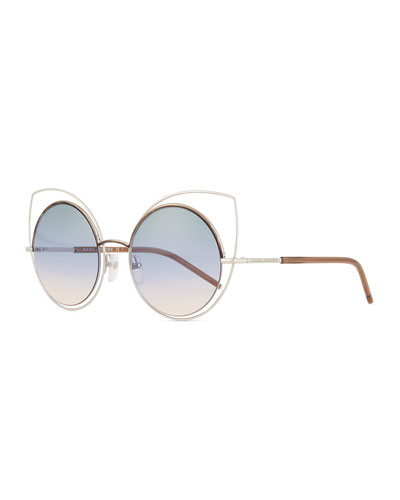 Exaggerated Metal Cat-Eye Sunglasses, Silver/Blue