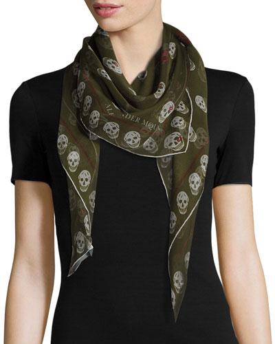 Skull Kisses Silk Foulard Scarf, Olive/Gray