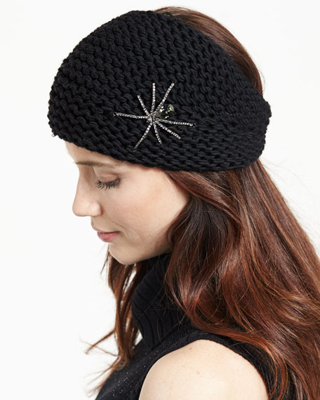 Jennifer Behr Embellished Wool Spider Headband, Black