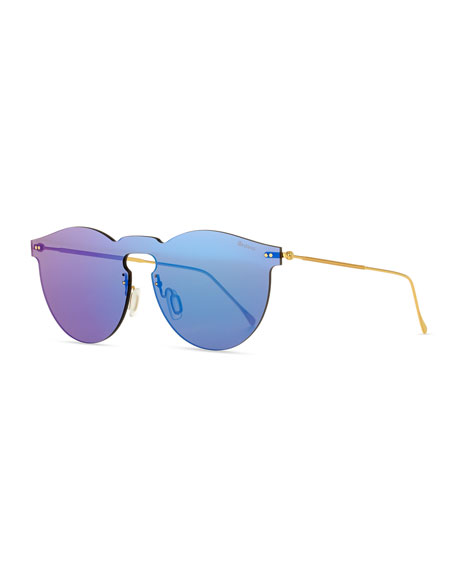 Illesteva Leonard Rimless Mirrored Sunglasses, Teal