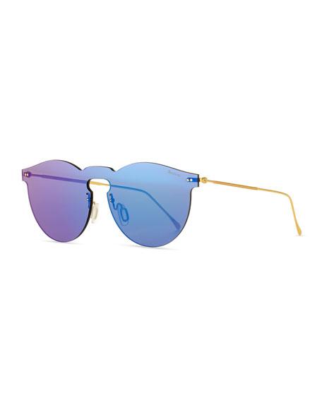Leonard Rimless Mirrored Sunglasses, Teal