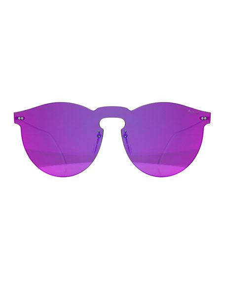 Rimless Mirrored Iridescent Sunglasses, Pink