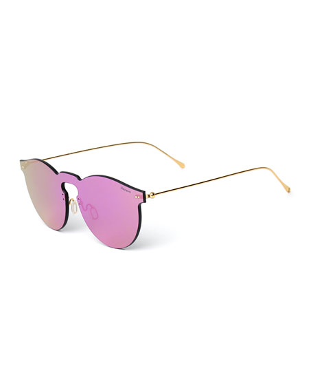 Illesteva Rimless Mirrored Iridescent Sunglasses, Pink