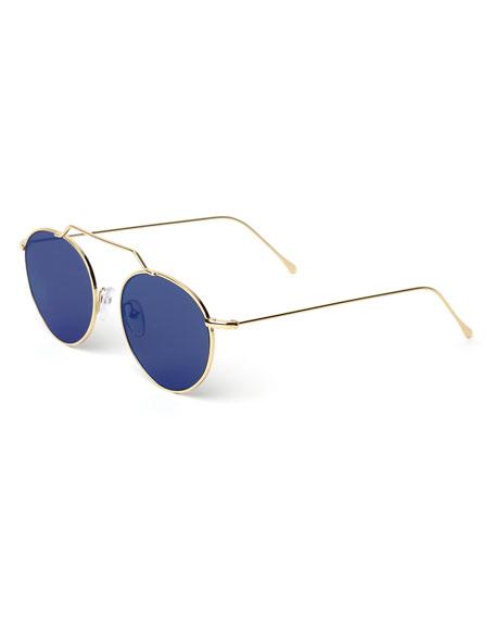 Wynwood Round Stainless Steel Sunglasses, Gold/Blue