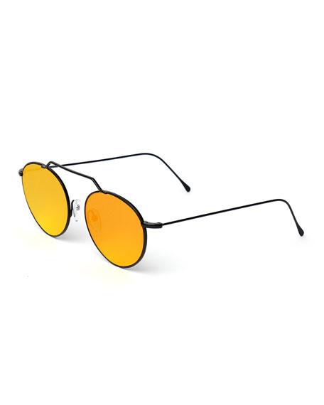 Illesteva Wynwood Round Stainless Steel Sunglasses, Black/Orange
