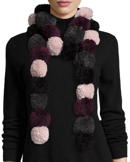 Rebecca Minkoff Long Pompom Scarf, Pink/Purple/Gray/Black