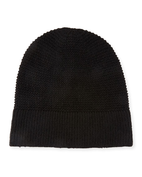 Garter-Stitched Headphone Beanie Hat, Black