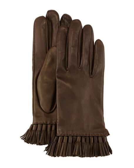 Leather Mini-Tassel Gloves, Olive