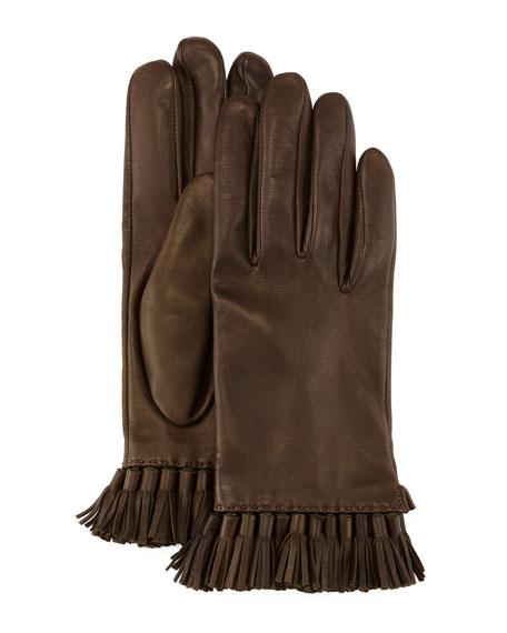 Leather Mini-Tassel Gloves, Olive