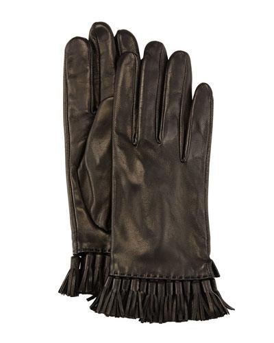 Leather Mini Tassel Gloves, Black